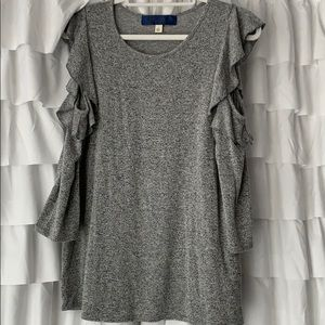 Grey, Cold Shoulder with Ruffles Top